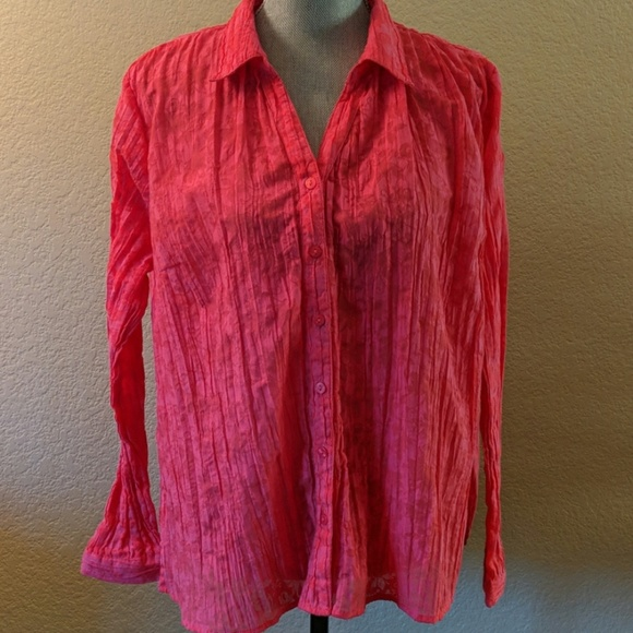 Erika Tops - Pink Crepe Button Down Blouse